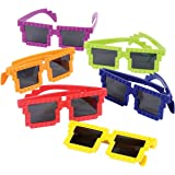 Assorted Color Pixelated Building Block Mania Connecting Brick Theme Child Size Sunglasses (12)