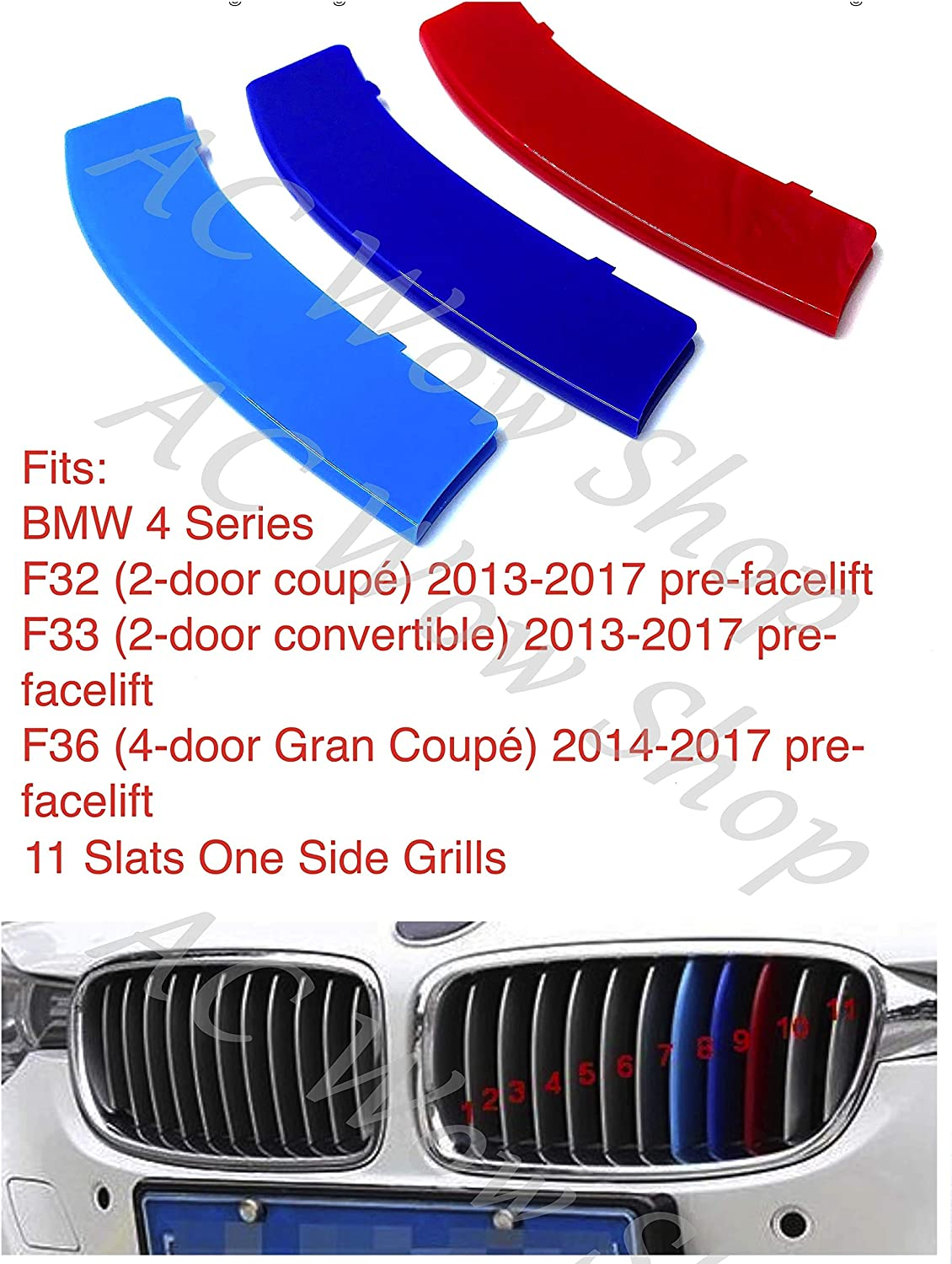 compatible with B M W 4 Series F32 F33 F36 2013-2017 11 BARS Bonnet Hood Radiator Grill Stripes Slat Covers Inserts Trim Clips M Power Sport Performance Tech Paket Colour Grilles Badge