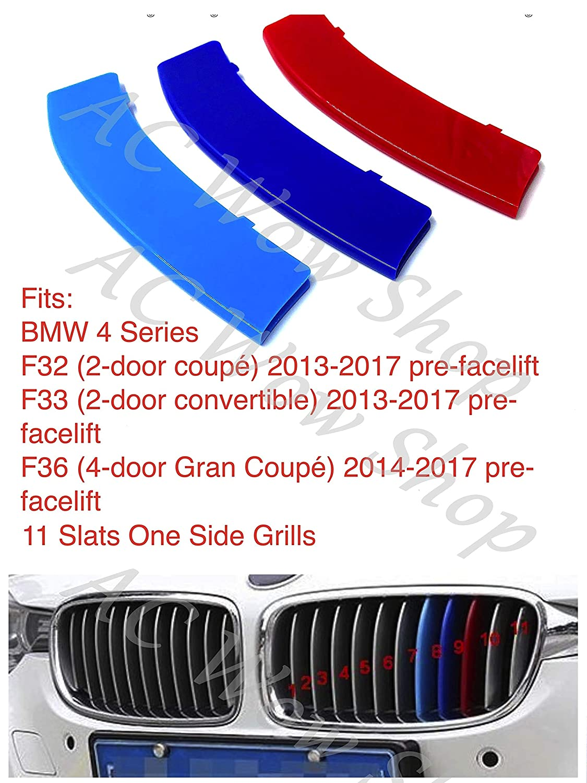 B M W 4 Series F32 F33 F36 2013-2017 11 Bares Capucha Radiador Rayas Tiras Insertos Recortar Clips M Power Sport Performance Tech Paket Color Grilles Badge