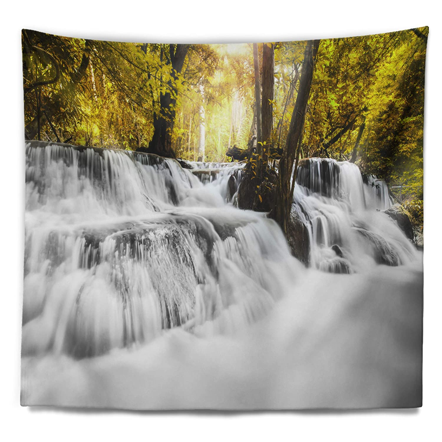 Designart Tap7139 80 68 Colorful Erawan Waterfall Landscape Photography Blanket Décor Art For Home And Office Wall Tapestry X Large 80 In X 68 In Created On Lightweight Polyester Fabric Tapestries Home Kitchen
