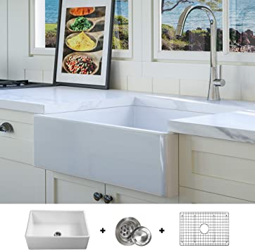 Luxury 26 inch Solid (NOT HOLLOW), Ultra-Fine Fireclay Modern Farmhouse  Kitchen Sink in White, Single Bowl, Flat Front, includes Grid and Drain, ...
