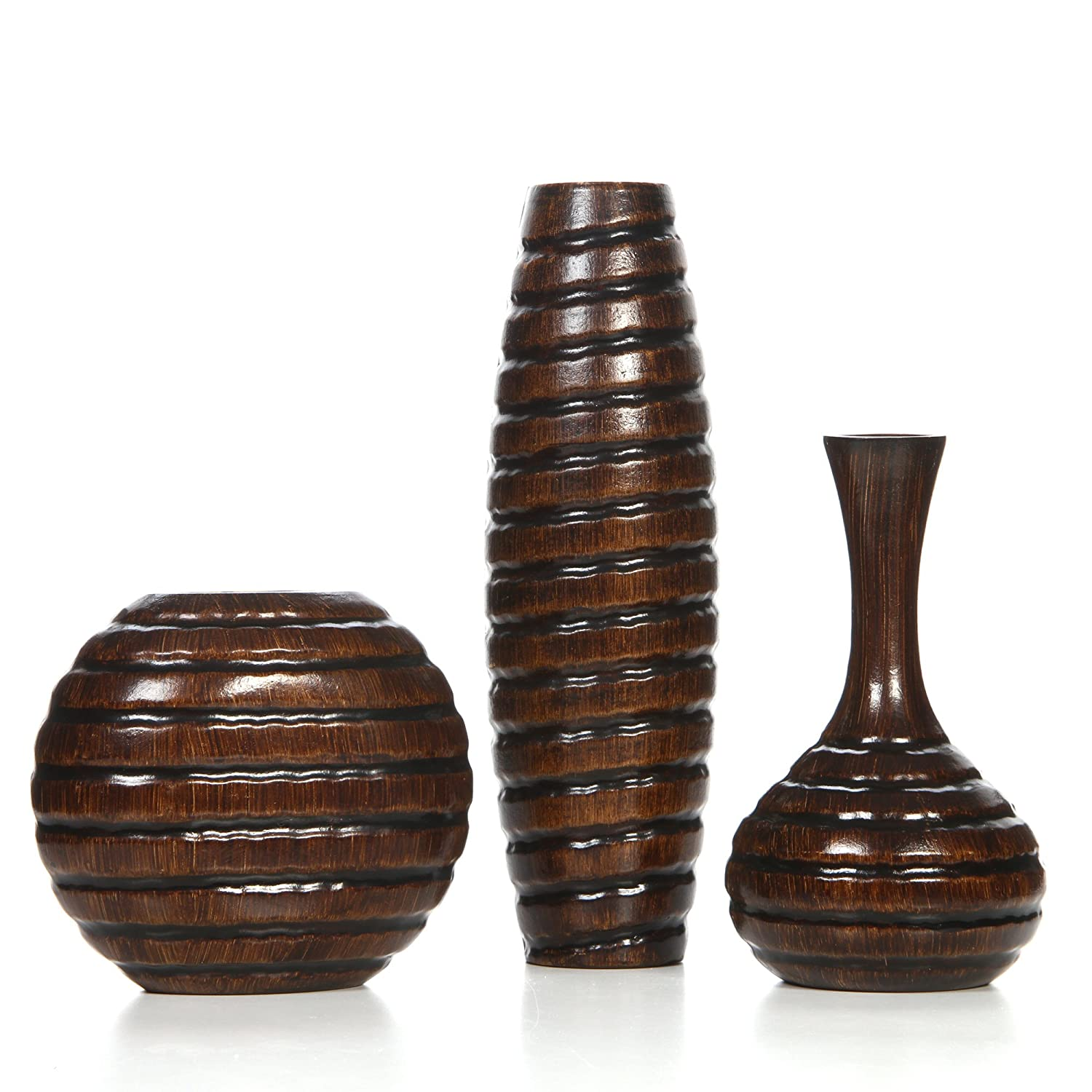 "Hosley Set of 3 Carved Wood Vases; Small 6"", Medium 8"" and Tall 12"" High. Ideal Gift for Weeding and Use for Home/Office Decor, Fireplace, Floor Vases, Spa, Aromatherapy Settings O9"