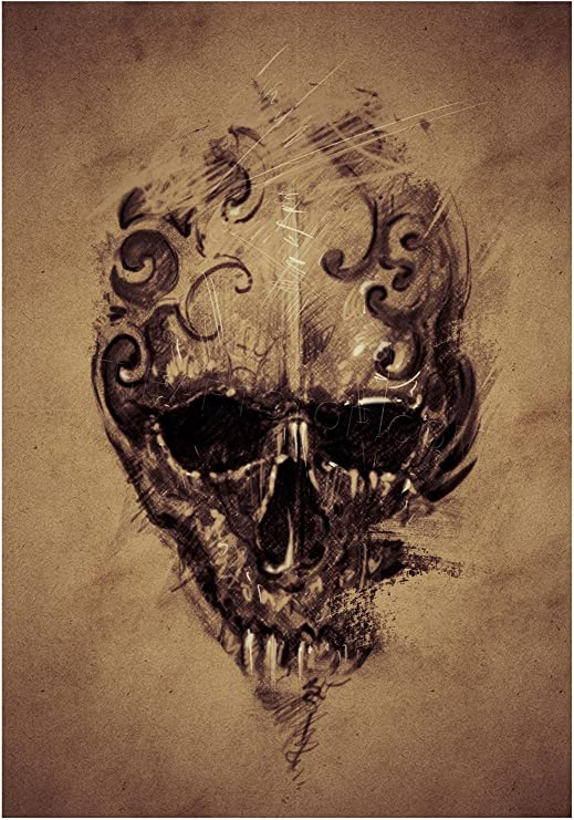 GOTHIC SKULL WITH WHITE ROSE FLOWER GRUNGE BOX CANVAS PRINT WALL ART PICTURE