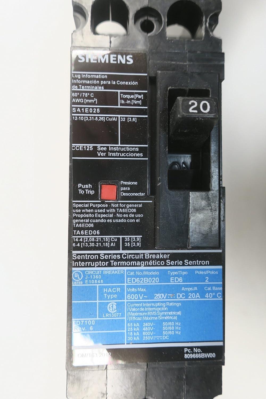 Siemens ED62B020L Molded Case Circuit Breaker 20a Amp 2p 600v-ac