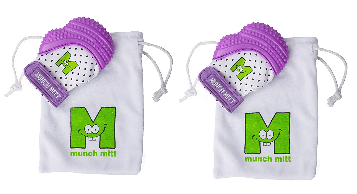 Munch Mitt® Teething Toy Stays on Baby's Hand is Self-Soothing Entertainment and Gives Pain Relief from Teething plus is Ideal Baby Shower Gift that includes Handy Travel/Laundry Bag– Set of 2 Purple No Model