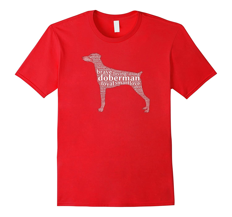 Doberman with a Docked Tail & Floppy Ears Word Cloud T-Shirt-Art