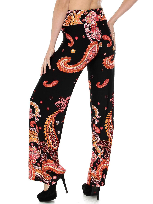 Simplicity Womens Printed Wide Leg Fold-Over Waist Palazzo Pants