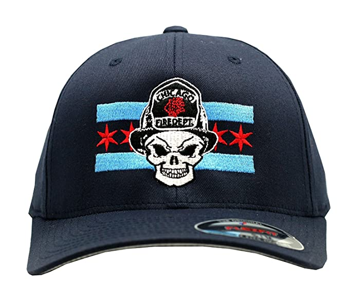 3ff5c399e32be Chicago Fire Department Skull with Chicago Flag Flex Fit Cap (Large X-large