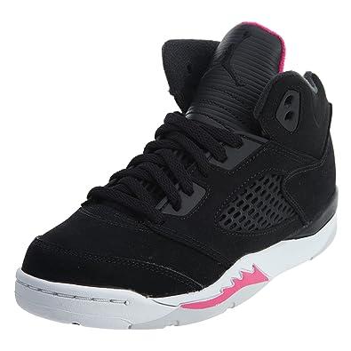 5306b8dce26 Jordan Retro 5 Little Kids' Basketball Shoes Black/Deadly Pink/White 440893-