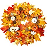 "TURNMEON 24"" Prelit Fall Wreath for Front Door with 30 Warm Light Pumpkin Maples Leaf Pine Cone Berry Cotton Battery Operate"