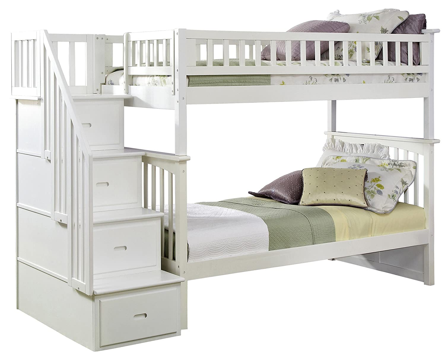 Amazoncom Columbia Staircase Bunk Bed Full Over Full White