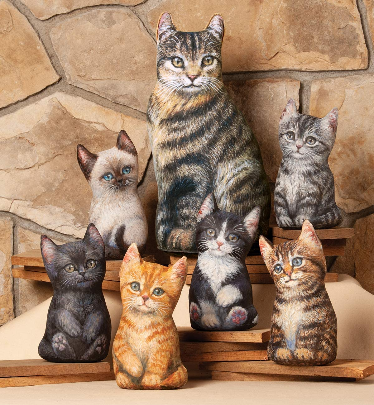 Fiddler's Elbow Home Decor Accent Kittens | Artwork by Amy Brackenbury | 6 Styles | Office Decor | Great Gifts for Cat Lovers (Grey Tabby)