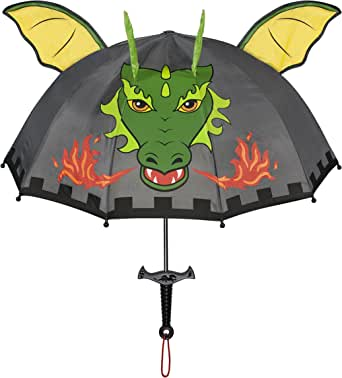 Kidorable Dragon Knight Grey Umbrella for Boys w/Fun Sword Handle, Pop-Up Dragon Wings