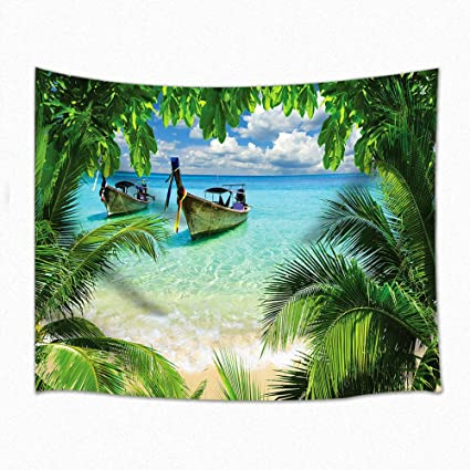 NYMB Wall Art Tropical Seaside Home Decor, Ship On The Sea Under The  Tropical Plants