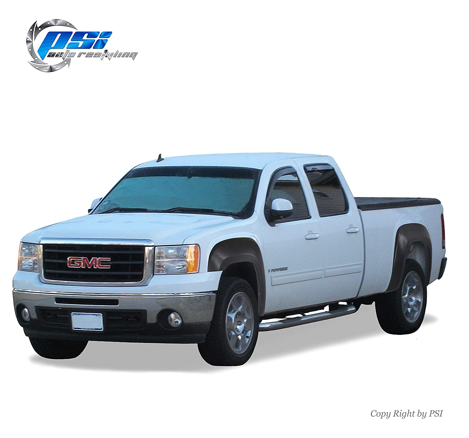 PSI Auto Restyling A8000113 OE Style Fender Flares Paintable Finish Fits 07-13 GMC Sierra 1500; 07-14 GMC Sierra 2500//3500; Compatible w// 78.7 97.6 Fleetside Only; Not Compatible w//Dually Models