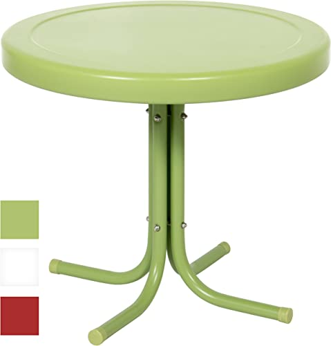 Best Choice Products 22in Modern Round Metal Side Table w UV and Weather Resistant Finish – Green