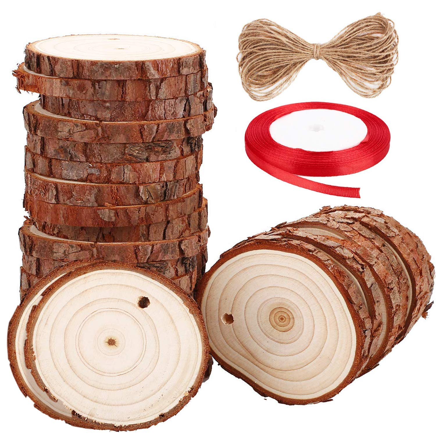 Wood Slices SOLEDI 20 PCS 3.1'-3.5' Craft Wood kit Unfinished Predrilled with Hole Natural Wooden Circles, Wood Circles Great for DIY Handmade Wedding Crafts, Xmas Ornaments and Home Decoration