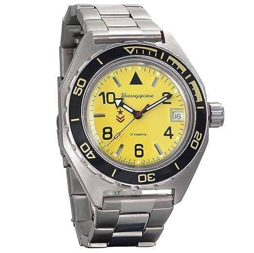 8a343e15c7aa Vostok Komandirskie Military Russian Mechanical Self-Winding Mens Wrist  Watch 2416B 650855  Amazon.co.uk  Watches