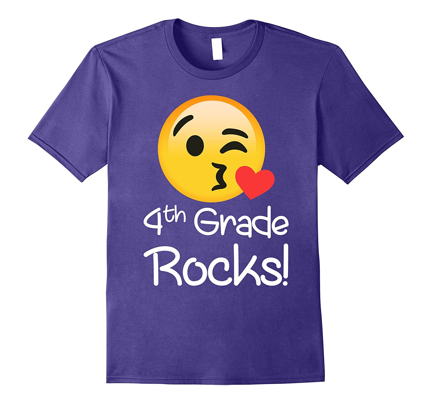 4 th Grade Rocks Emoji Shirt Funny fourth Graders & Teachers-Rose