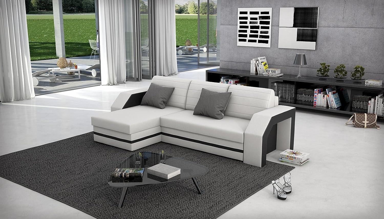 SAM® Ecksofa ACAPULCO weiß schwarzes Ecksofa 145 x 266 cm in futurisitschem Design mit einer pflegeleichten Oberfläche Lieferung per Spedition