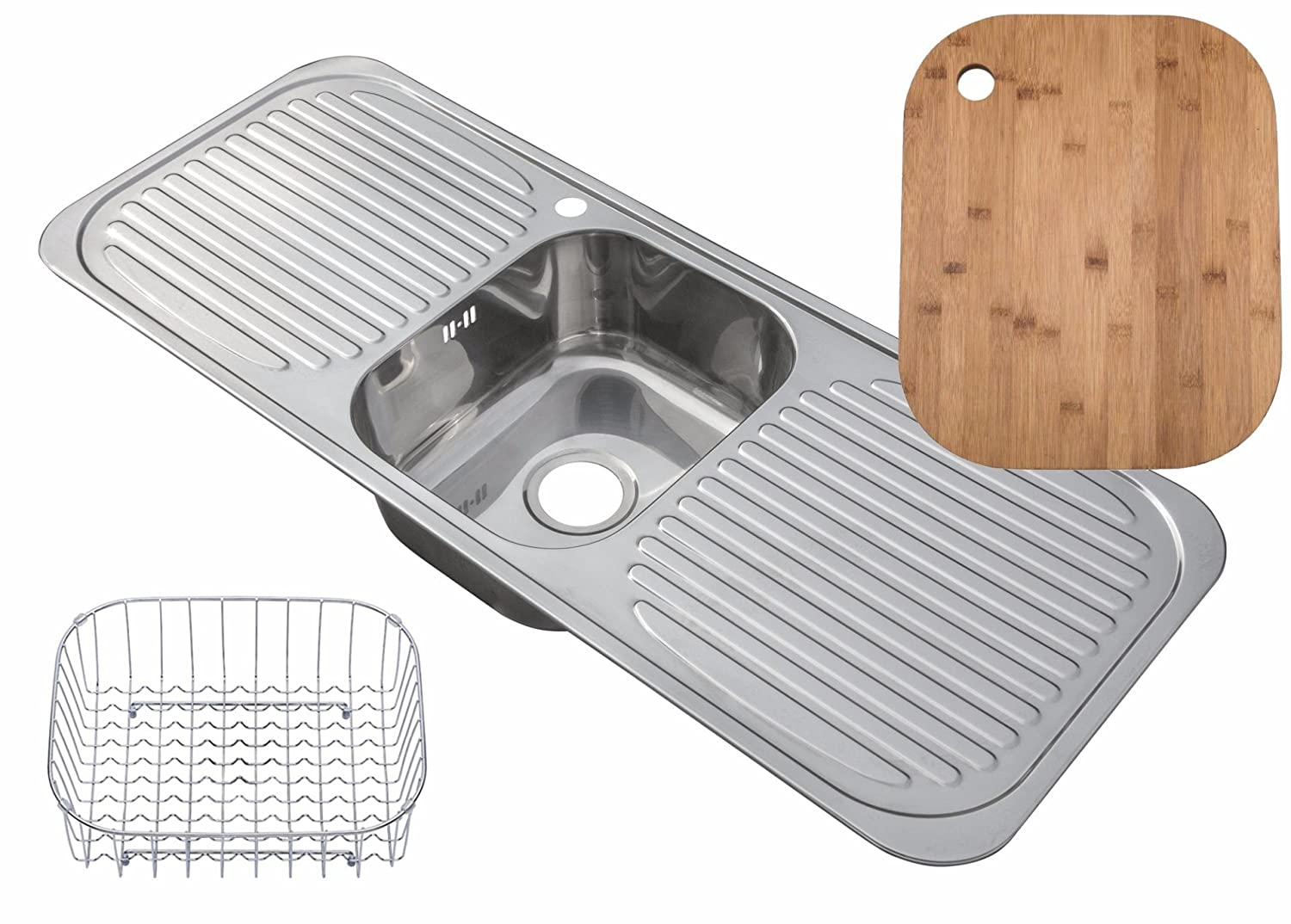 Inset Stainless Steel Single Bowl Kitchen Sink with 2 Drainers Large & Accessory Pack (C01)