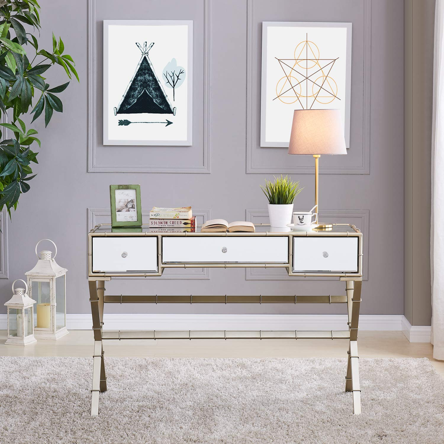 Southern Enterprises Lienz Hollywood Regency Mirrored Console Table, 17.5 X 31, Metallic