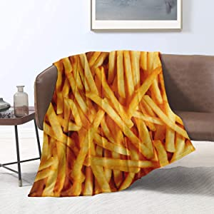 ARNOVIC Food Series Fried Chips Throw Blanket for Sofa Couch Suitable All Season Soft Flannel Decorative Cozy Lightweight Keep Warm 50