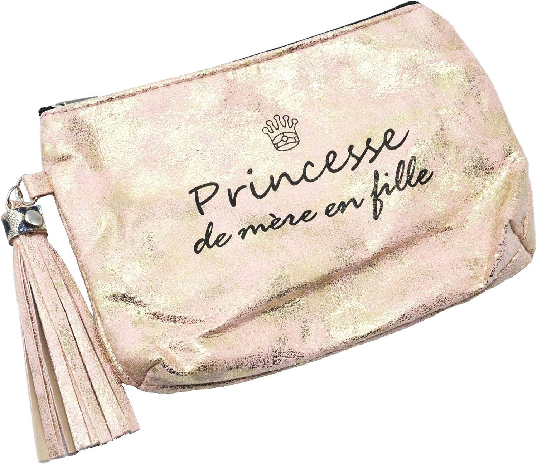 Oh My Shop ATM118 Trousse Pochette Effet Brillant Message Princesse de m/ère en fille Pompon Rose