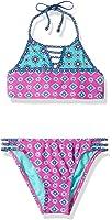 Hobie Big Girls' Mix It up Two Piece High Neck Bikini Hipster Swimsuit