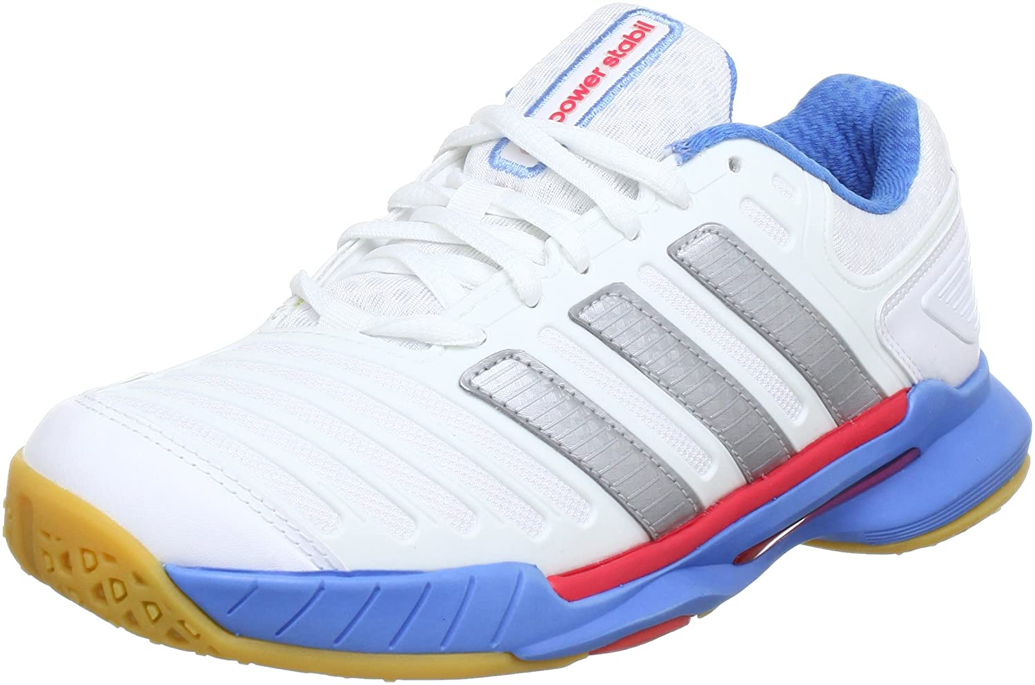 wholesale dealer 32e1e 3fb64 adidas adipower Stabil 10.0 W G64975, Damen Handballschuhe, Weiß (Running  White Ftw  Metallic Silver  Joy Blue S13), EU 48 (UK 12.5) Amazon.de  Schuhe  ...