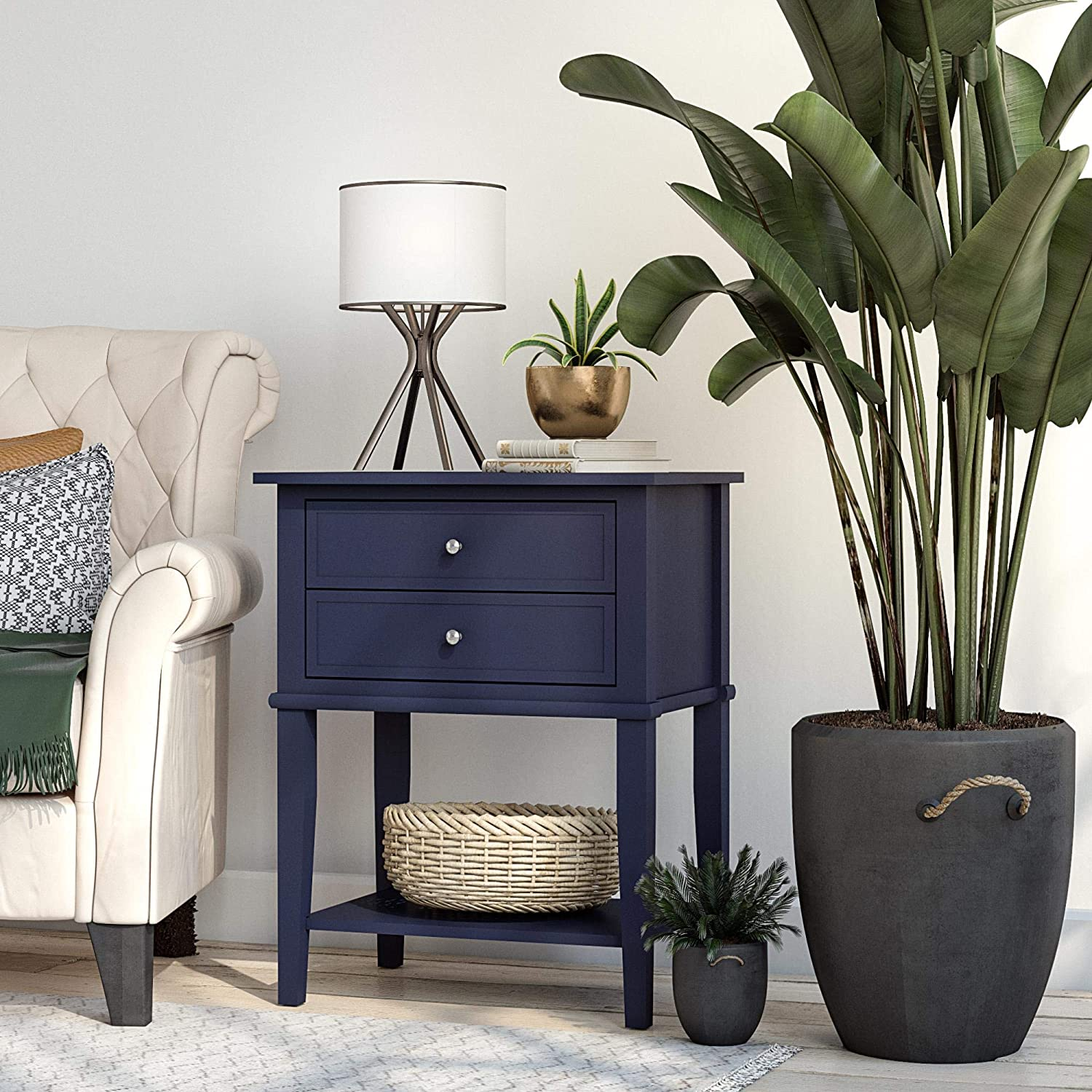 Ameriwood Home Franklin Accent 2 Drawers, Navy Table