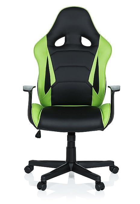 hjh OFFICE 621932 Silla Gaming GT Racer Piel sintética Negro/Verde Silla de Escritorio