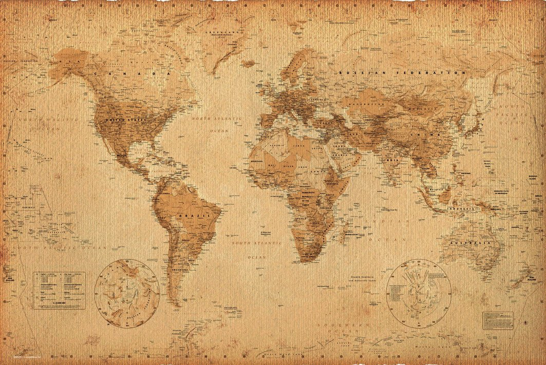 Amazon.com: World Map (Vintage Style) 36x24 Wood Framed Poster Art ...