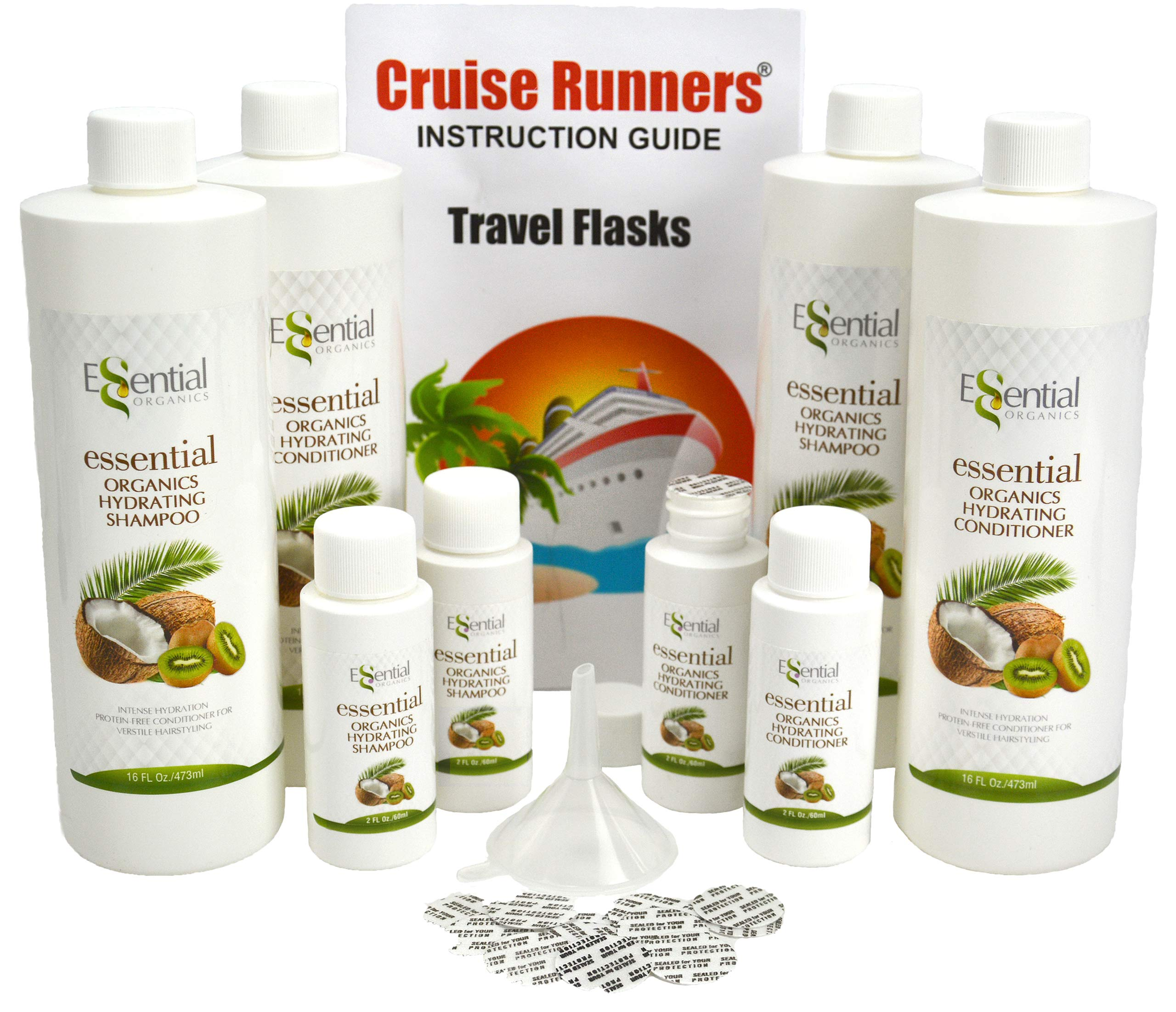 CRUISE RUNNERS Fake Shampoo Conditioner Flask Kit For Hiding Hidden Liquor Sneak Smuggle Alcohol On Booze Cruise With 4 TSA Travel Size Plastic Bottles and Seals Enjoy Rum Runners by Cruise Runners