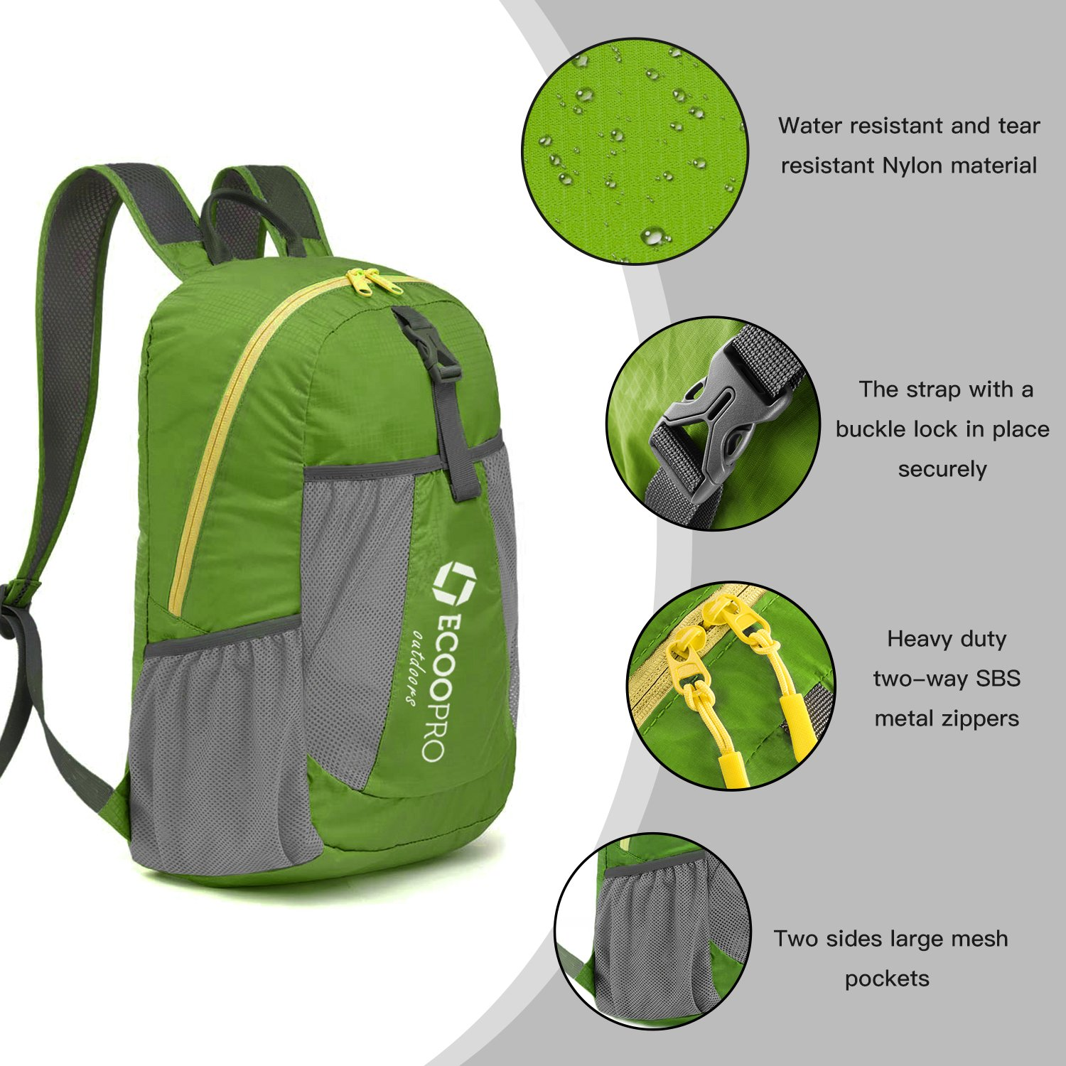 ZOORON Small Ultra Lightweight Packable Hiking Backpack,Water Resistant Foldable Travel Camping Daypack