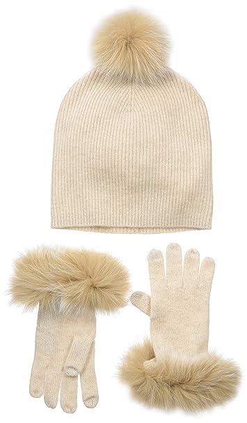 7b37ba9f317 Sofia Cashmere Women s 100% Gift Box Set-Fur Trim Gloves and Fur Pom ...