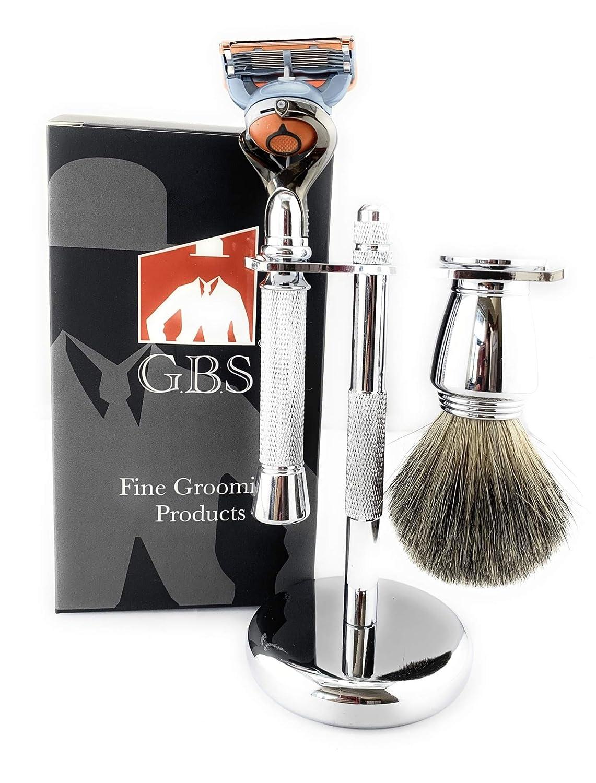 GBS New 3pc Chrome Shaving Set For Men - 5 Blade Chrome Razor, Gillette5 Blade Compatible- Badger Brush, Stainless Bowl w/Soap, and Stand! Perfect Shaving Gift Set!
