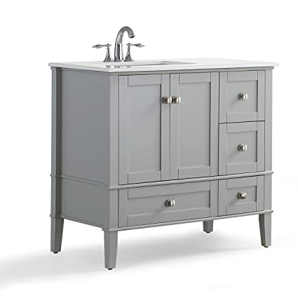 Simpli Home Chelsea Inch Left Offset Bath Vanity With White - 36 inch grey bathroom vanity