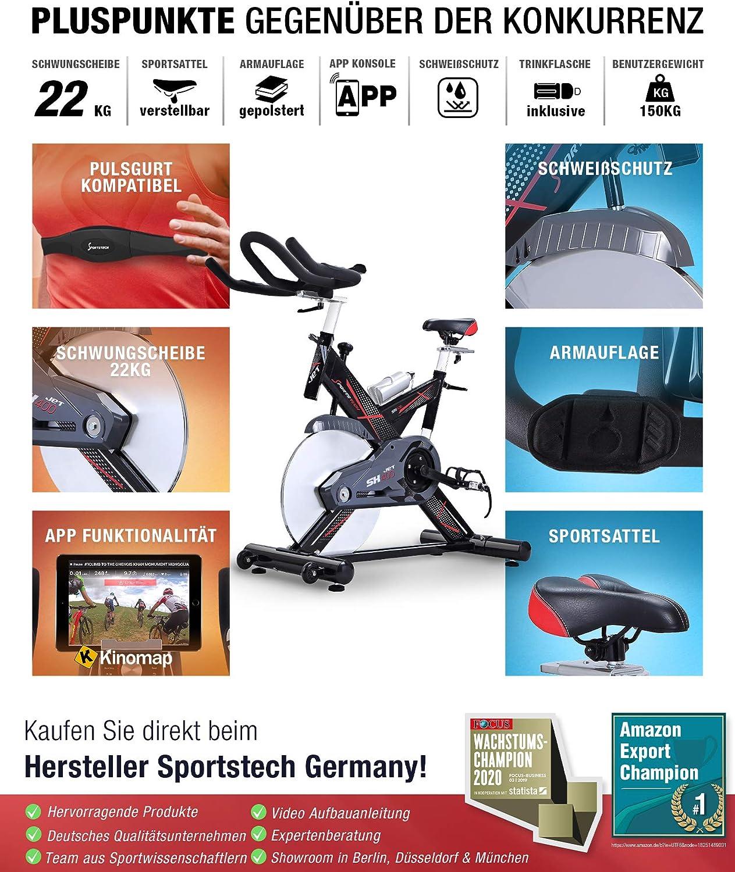 Sportstech Profi Indoor Cycle SX400 - Bicicleta estática con control mediante aplicación de smartphone y Google Street View (volante de inercia de 22 kg, reposabrazos, correa de pulsómetro compatible, bicicleta de velocidad