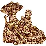"Kartique Lord Vishnu with Lakshmi Rest Upon Shesha Naag - Brass Laxmi Narayan Statue (6"" Height X 7"" Width)"
