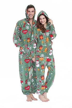 081cac043d XMASCOMING Women s   Men s Hooded Fleece Onesie Pajamas Merry Xmas ...