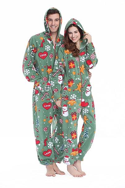 XMASCOMING Women's & Men's Hooded Fleece Onesie Pajamas Merry Xmas Size US L