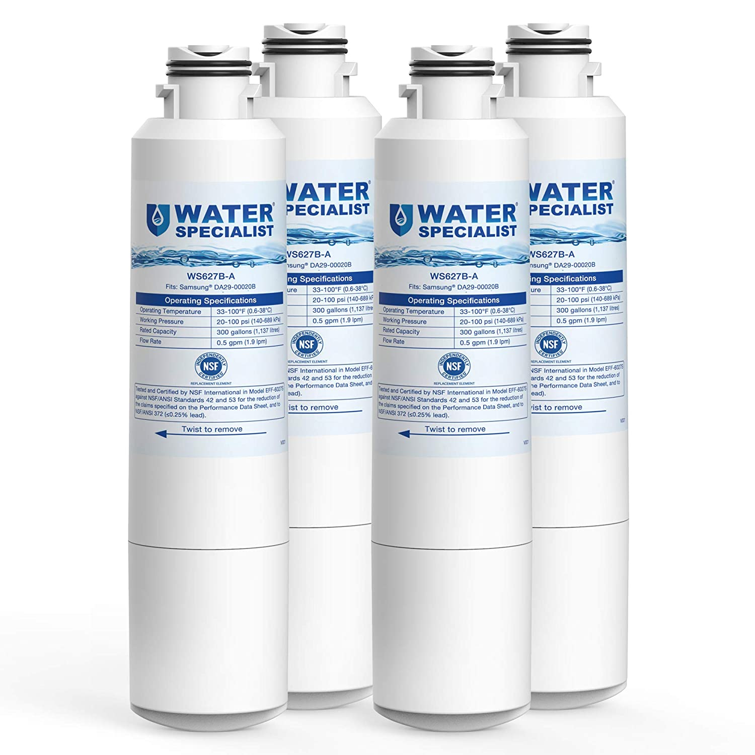 Waterspecialist NSF 53&42 Certified DA29-00020B Refrigerator Water Filter, Replacement for Samsung HAF-CIN, HAF-CIN/EXP, DA29-00020A/B, DA97-08006A, DA2900020B, RF28HMEDBSR, RF4287HARS (Pack of 4)