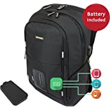 Smart Laptop Backpack with Cell Phone, Tablet & Gadget Charging Solution, Dual USB Ports, LED Battery Status Display (includes 7000mAh Battery)