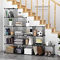 16 Cube Wire Storage Cubes Cabinet Modular Display Shelving Unit Stackable Interlocking Wire Shelves DIY Metal Grid…
