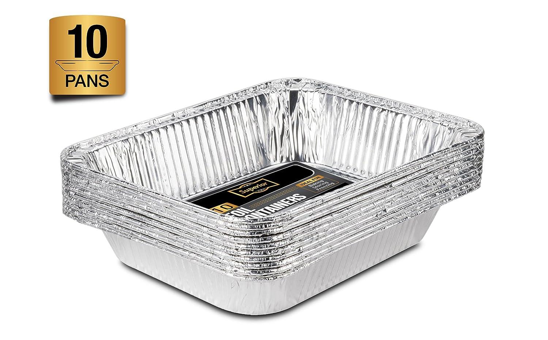Lote de 10 bandejas de aluminio desechables de tamaño medio para horno, asado, cocina, alimentos, 32 x 26 cm: Amazon.es: Hogar