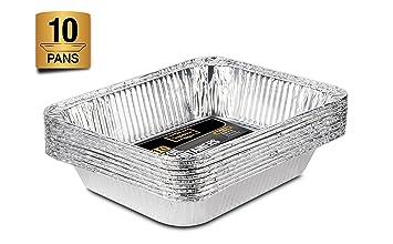 Lote de 10 bandejas de aluminio desechables de tamaño medio para horno, asado, cocina