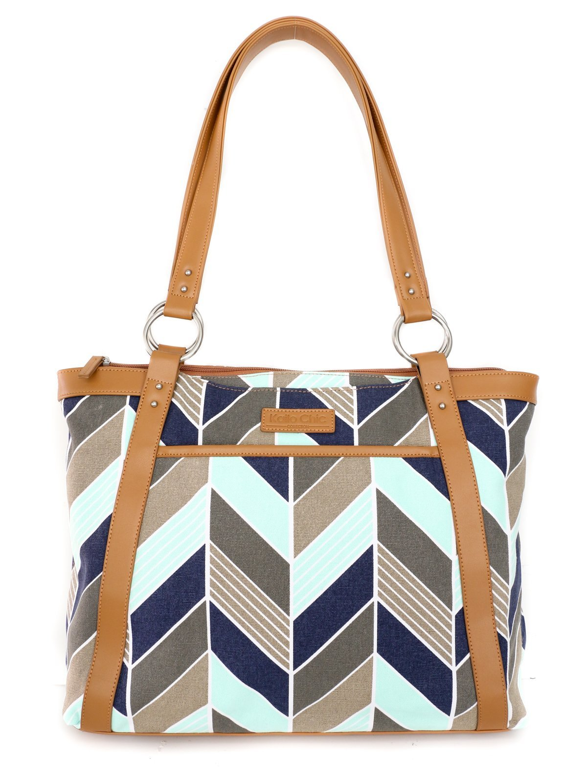 Kailo Chic Casual Laptop Tote Bags (Navy and Mint Chevron)
