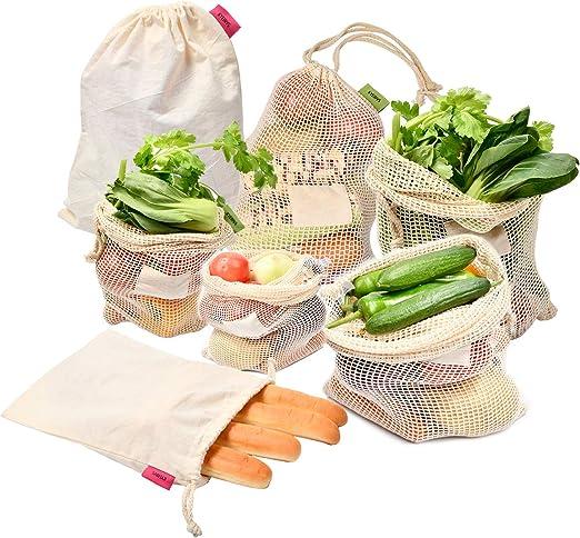 Kyerivs bolsas de malla de algodón orgánico ecológicas, bolsa ...