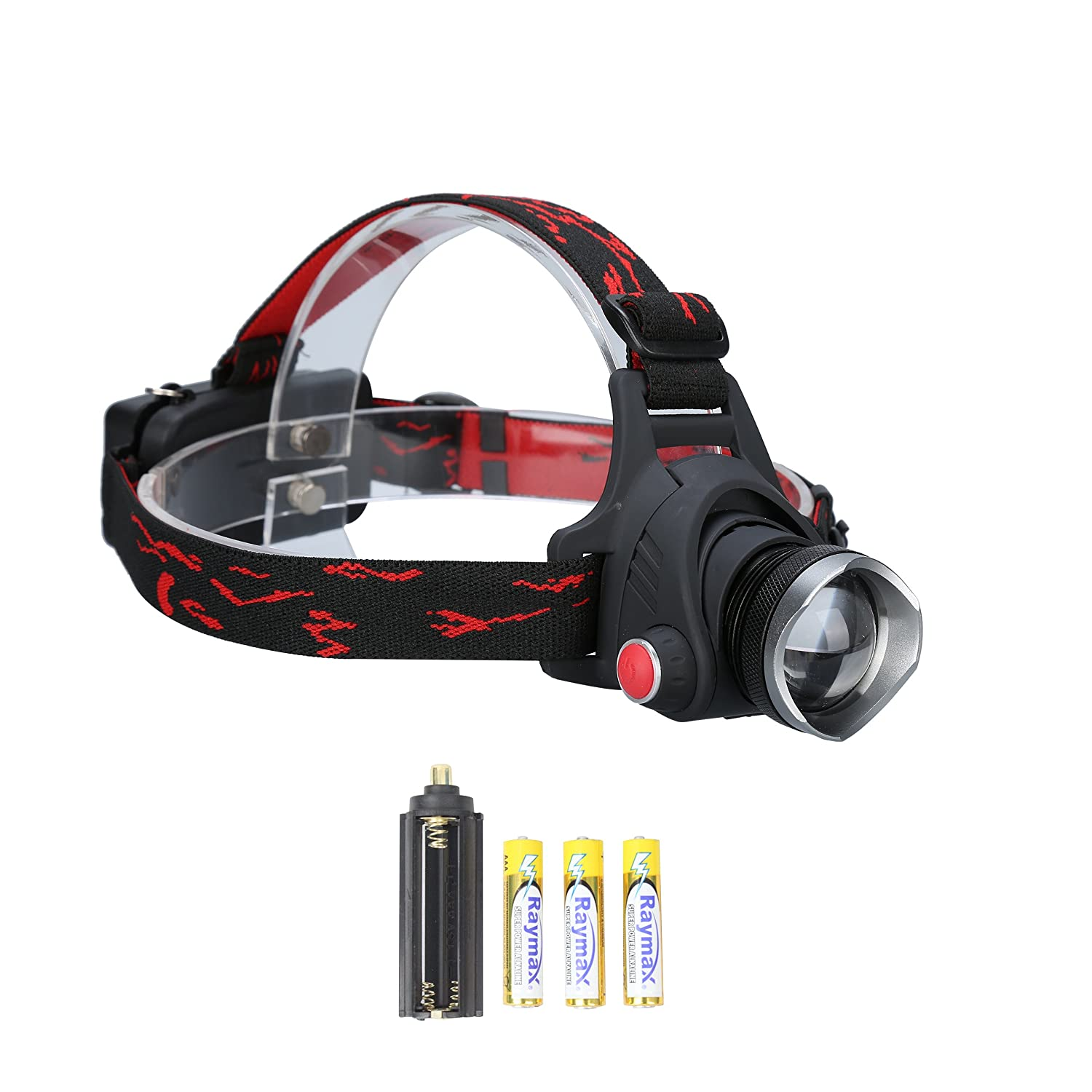 Durapower Headlamp Super Bright 2 Modes Led Headlamp with Zoomable Focusing and Adjustable Lighting Angle and Water Resistant Function Include 3 AAA Batteries Luckibuy Imp&Exp AM17-1502-HL-N
